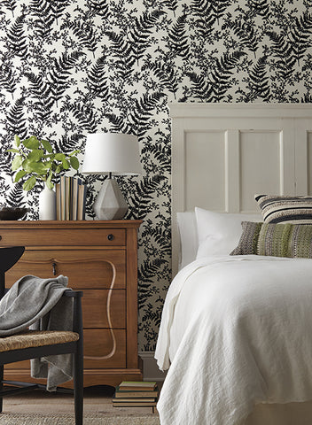 Forest Fern Flock Wallpaper in Black from Magnolia Home Vol. 2 by Joanna Gaines