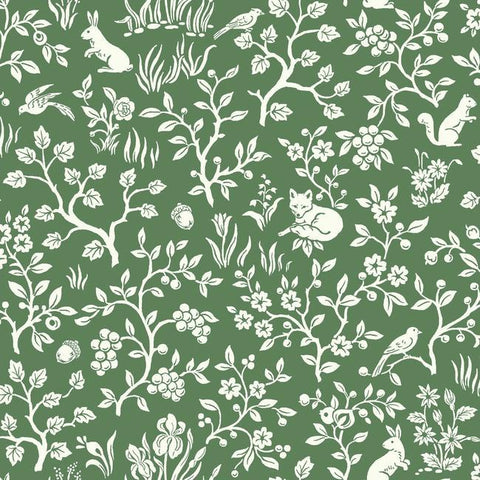 Fox & Hare Wallpaper in Forest Green from Magnolia Home Vol. 2 by Joanna Gaines