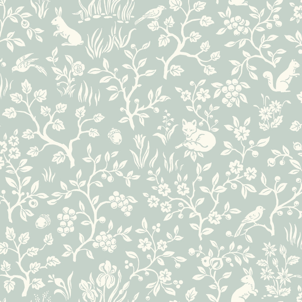 Fox & Hare Wallpaper in Green from the Magnolia Home Vol. 3 Collection by Joanna Gaines