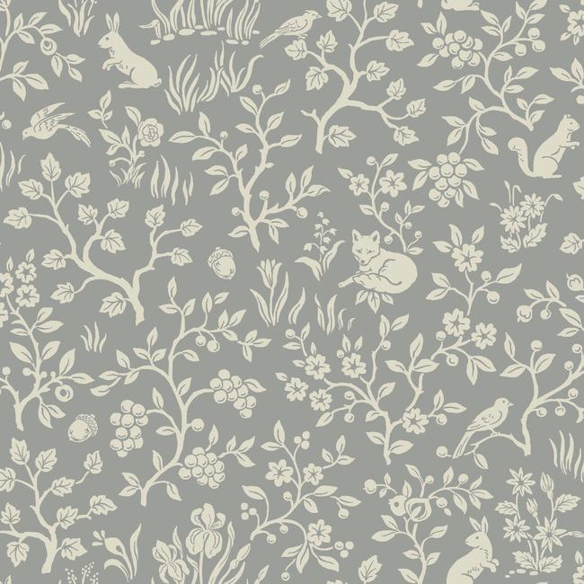 Sample Fox & Hare Wallpaper in Grey from Magnolia Home Vol. 2 by Joanna Gaines