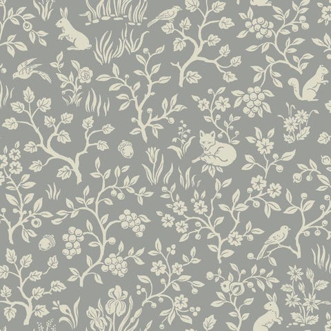 Fox & Hare Wallpaper in Grey from Magnolia Home Vol. 2 by Joanna Gaines