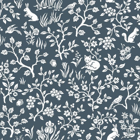 Fox & Hare Wallpaper in Navy from Magnolia Home Vol. 2 by Joanna Gaines