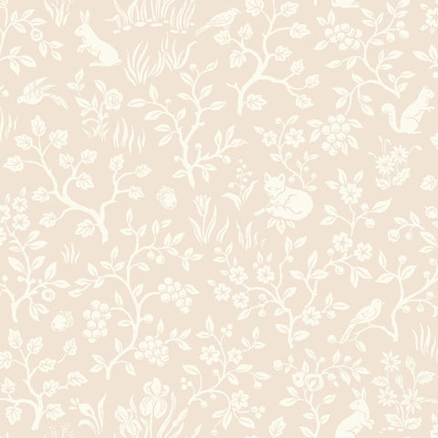 Fox & Hare Wallpaper in Pink from the Magnolia Home Vol. 3 Collection by Joanna Gaines