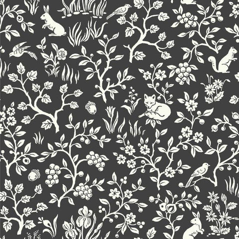 Fox & Hare Wallpaper in Straight Black from Magnolia Home Vol. 2 by Joanna Gaines