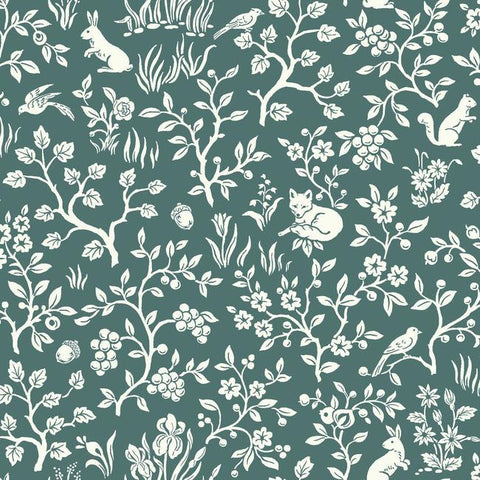 Fox & Hare Wallpaper in Teal from Magnolia Home Vol. 2 by Joanna Gaines