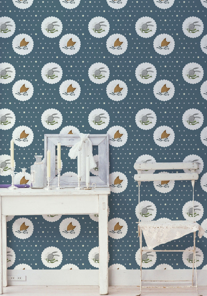 Fox & Rabbit Wallpaper by Muffin & Mani for Milton & King
