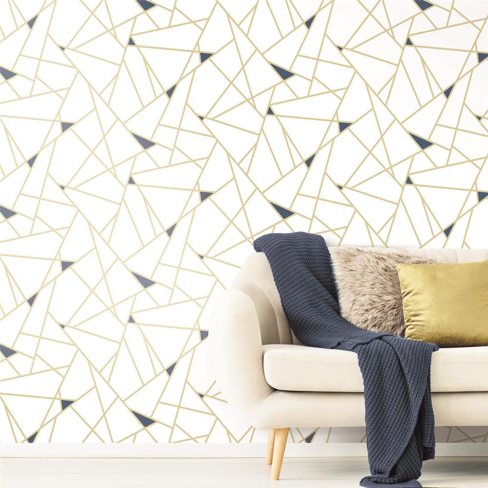 Fracture Peel Stick Wallpaper In Gold By Roommates For York Wallcove Burke Decor