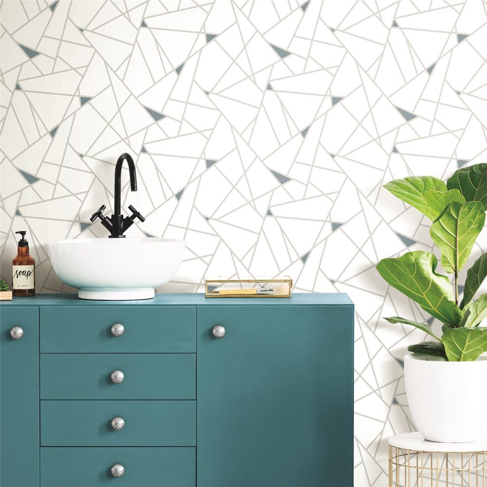 Fracture Peel & Stick Wallpaper in Teal by RoomMates for York Wallcoverings