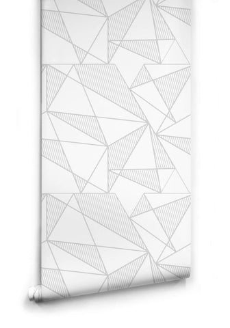 Sample Fracture Wallpaper in Grey and White from the Ella & Sofia Collection by Milton & King