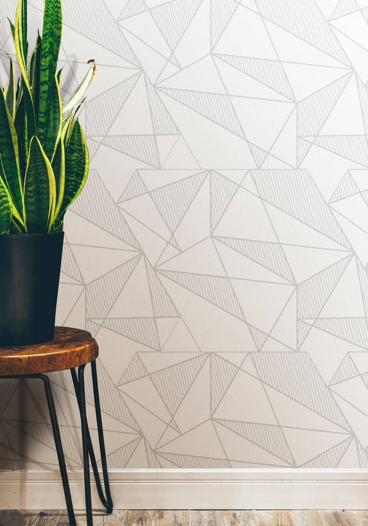 Fracture Wallpaper in Grey and White from the Ella & Sofia Collection by Milton & King