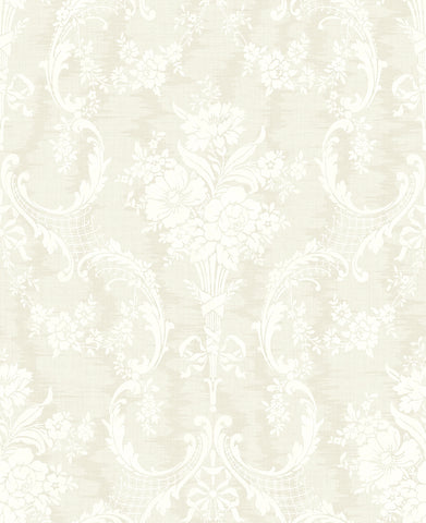 Framed Bouquet Wallpaper in Light Neutral from the Vintage Home 2 Collection by Wallquest
