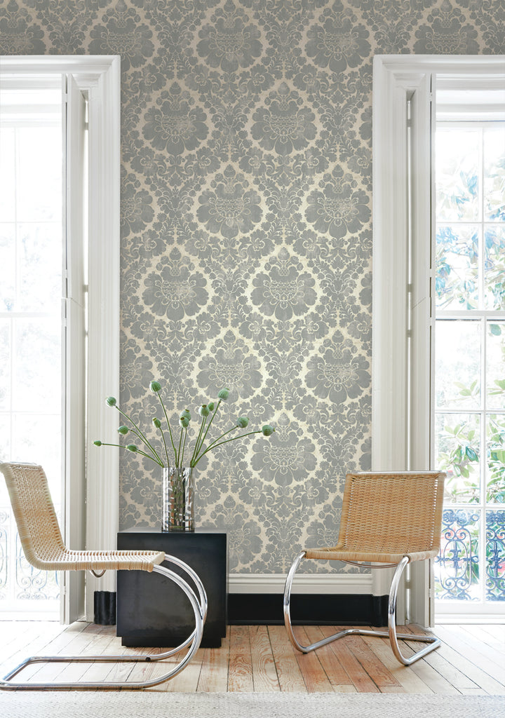 Framed Damask Wallpaper from the Caspia Collection by Wallquest