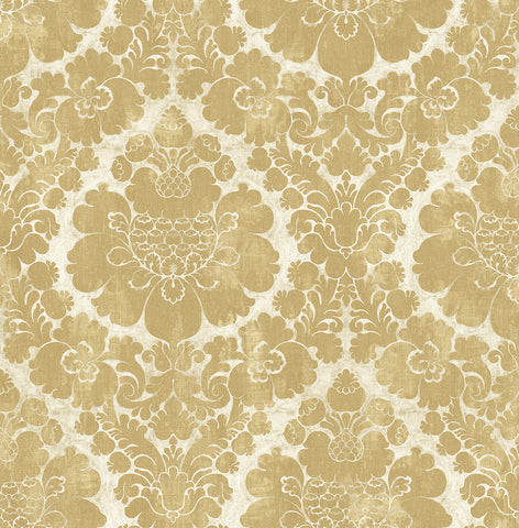 Framed Damask Wallpaper in Gold from the Caspia Collection by Wallquest