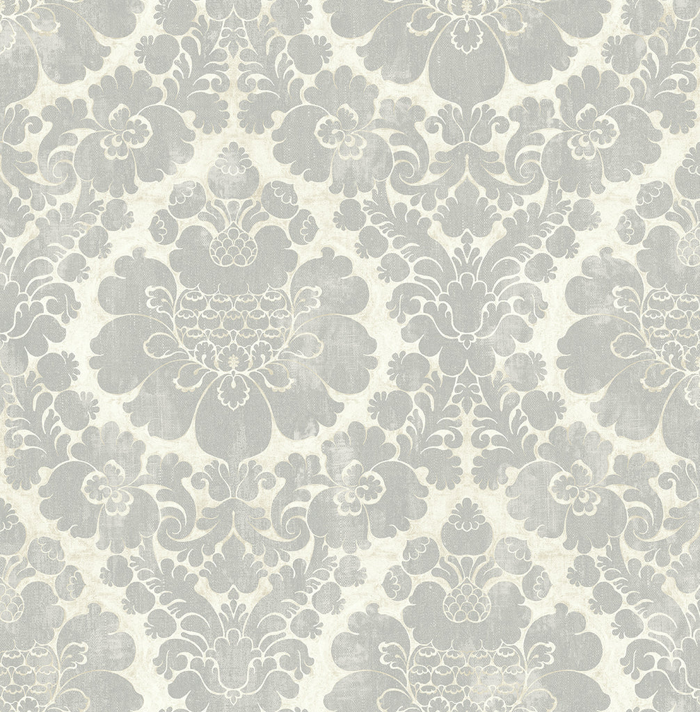 Framed Damask Wallpaper in Silver from the Caspia Collection by Wallquest