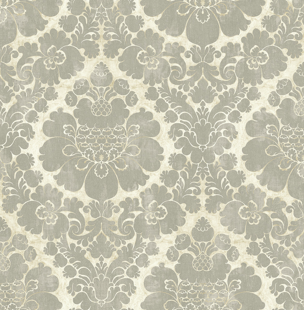 Framed Damask Wallpaper in Warm Silver from the Caspia Collection by Wallquest