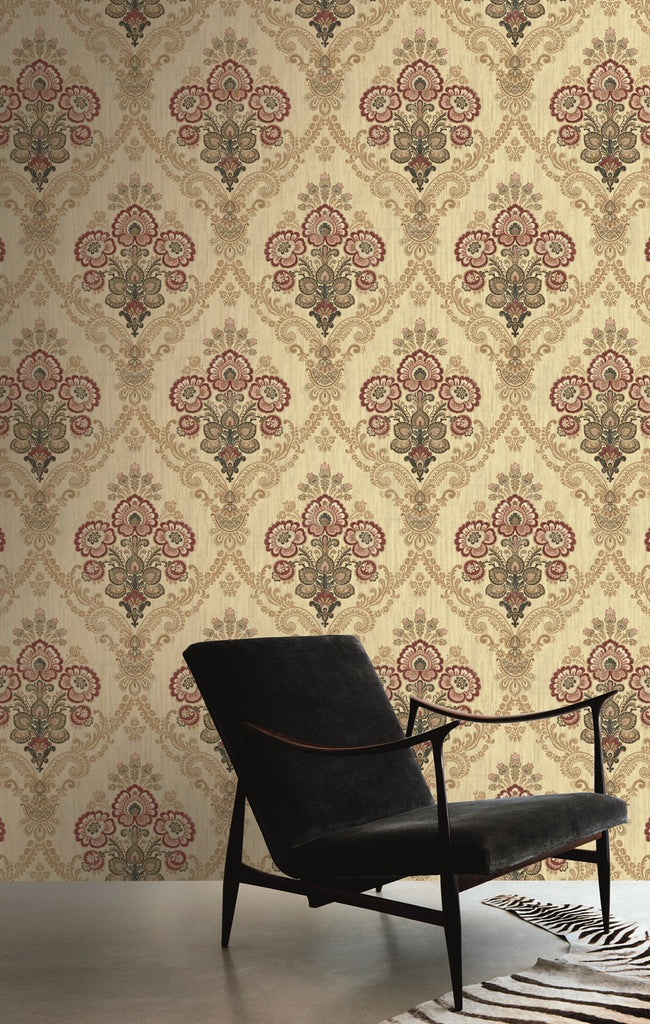 Framed Imperial Bouquet Wallpaper in Red and Gold from the Caspia Collection by Wallquest