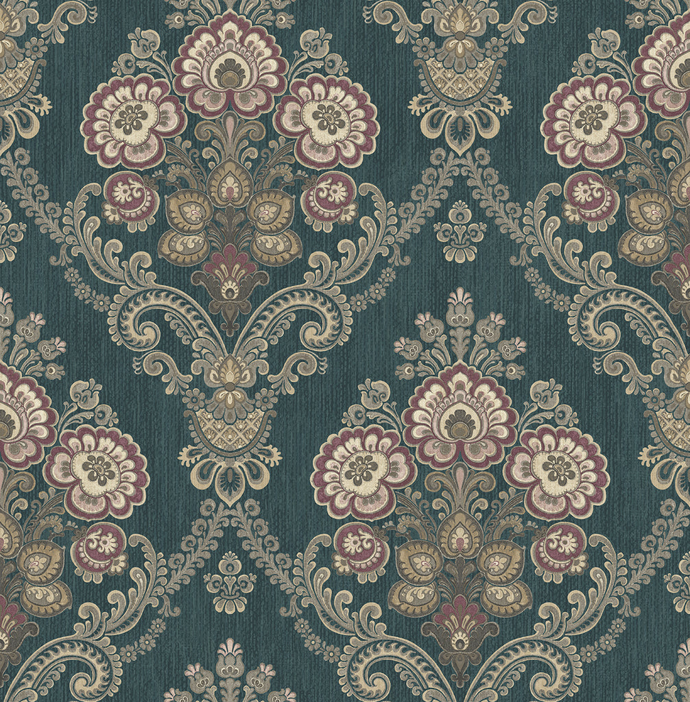 Framed Imperial Bouquet Wallpaper in Deep Teal from the Caspia Collection by Wallquest