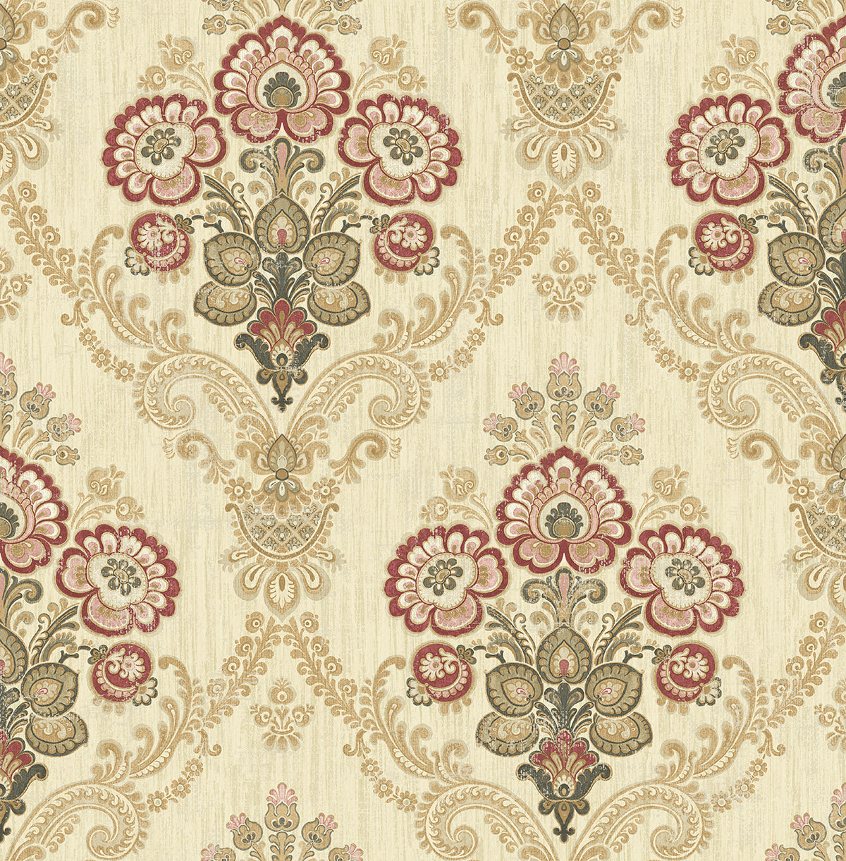 Framed Imperial Bouquet Wallpaper in Red and Gold from the Caspia ...
