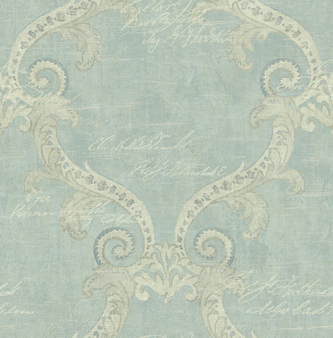 Framed Writing Wallpaper in Antique Blue from the Nouveau Collection by Wallquest