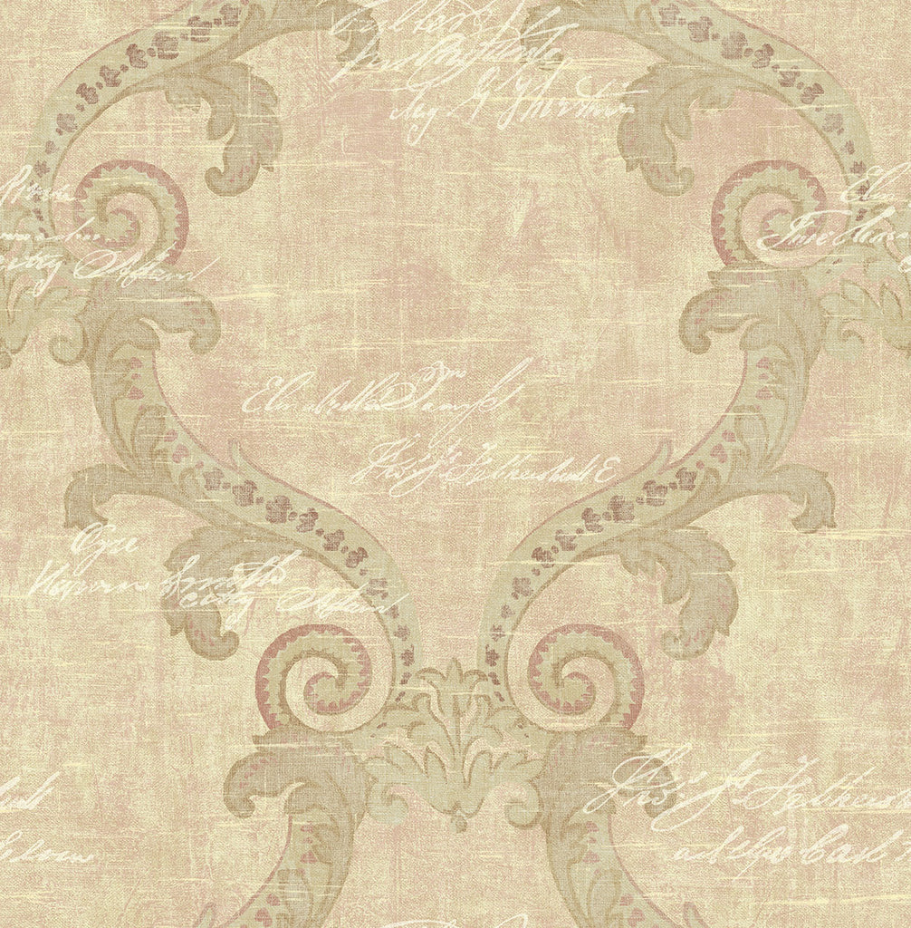 Sample Framed Writing Wallpaper in Rosy from the Nouveau Collection by Wallquest