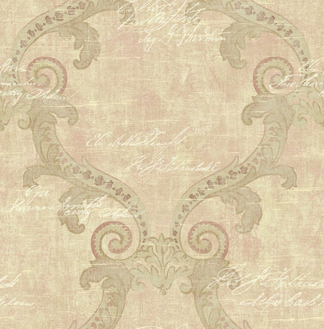 Framed Writing Wallpaper in Rosy from the Nouveau Collection by Wallquest