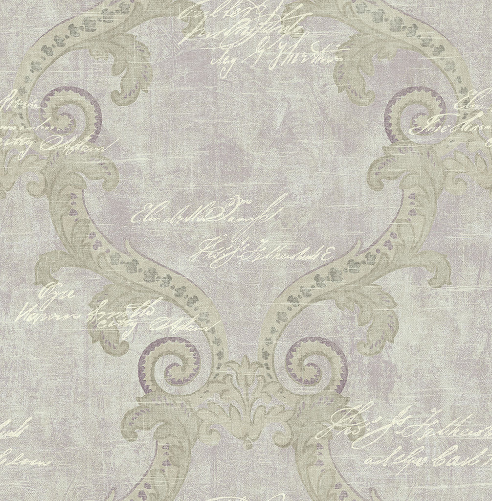 Sample Framed Writing Wallpaper in Royal Purple from the Nouveau Collection by Wallquest