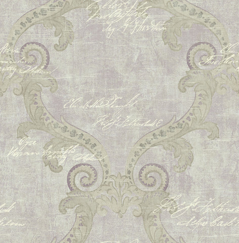 Framed Writing Wallpaper in Royal Purple from the Nouveau Collection by Wallquest