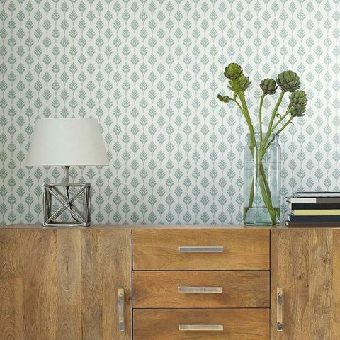 French Scallop Wallpaper in Mint from the Water's Edge Collection by York Wallcoverings