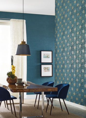 Teal and Gold from the Tea Garden Collection by Ronald Redding for York Wallcoverings