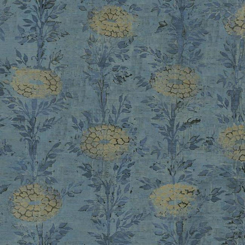 French Marigold Wallpaper in Blue and Gold from the Tea Garden Collection by Ronald Redding for York Wallcoverings
