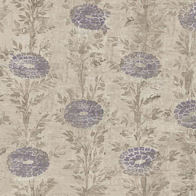 Sample French Marigold Wallpaper in Tan and Purple from the Tea Garden Collection by Ronald Redding for York Wallcoverings