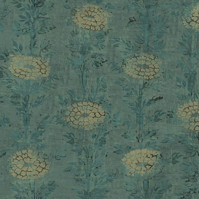 Sample French Marigold Wallpaper in Teal and Gold from the Tea Garden Collection by Ronald Redding for York Wallcoverings