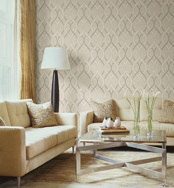 Frequency Beige Ogee Wallpaper from the Symetrie Collection by Brewster Home Fashions