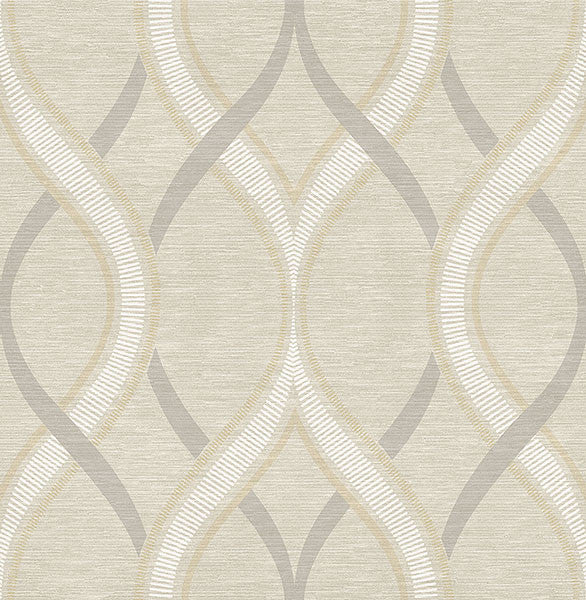 Sample Frequency Beige Ogee Wallpaper from the Symetrie Collection by Brewster Home Fashions