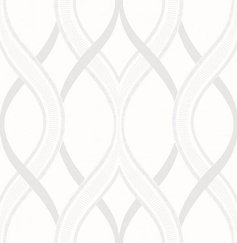 Frequency Cream Ogee Wallpaper from the Symetrie Collection by Brewster Home Fashions