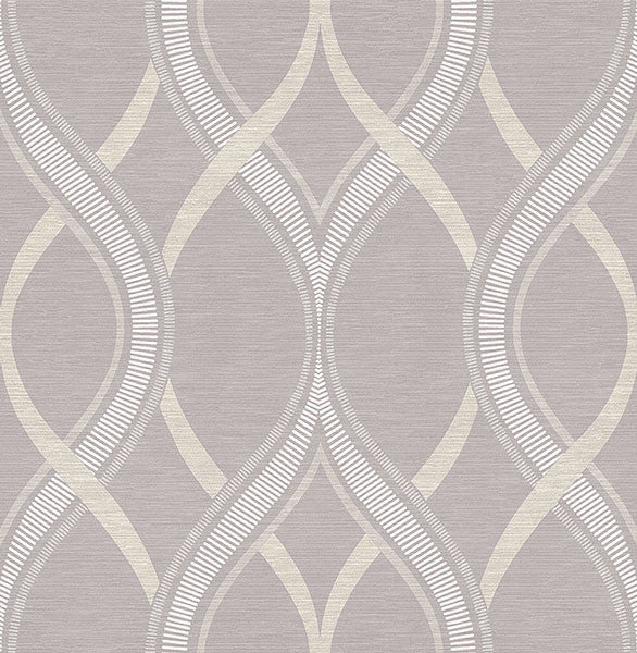 Frequency Lavender Ogee Wallpaper from the Symetrie Collection by Brewster Home Fashions