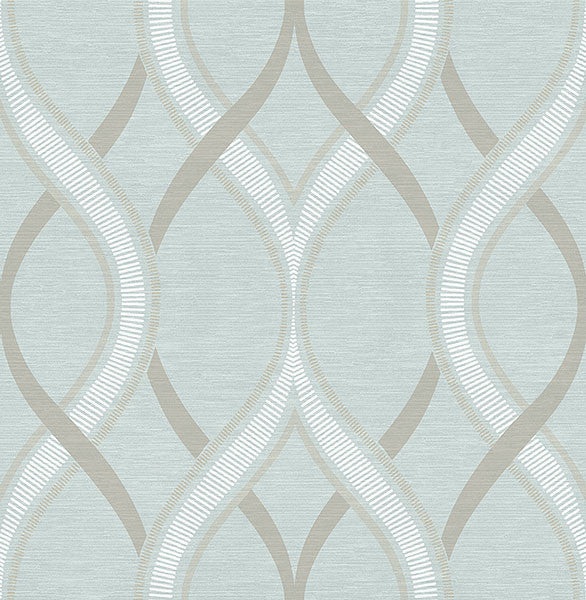 Frequency Turquoise Ogee Wallpaper from the Symetrie Collection by Brewster Home Fashions