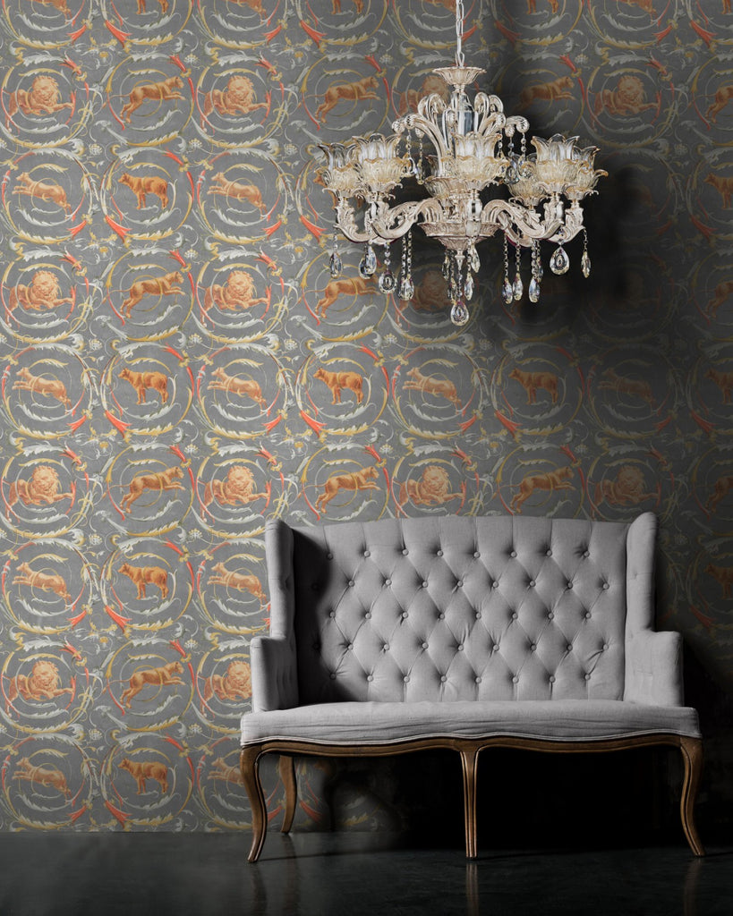 Fresce Wallpaper in Grey from the World of Antiquity Collection by Mind the Gap