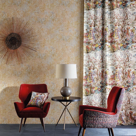 Fresco Wallpaper in Rust/Ochre from the Enchanted Gardens Collection by Osborne & Little