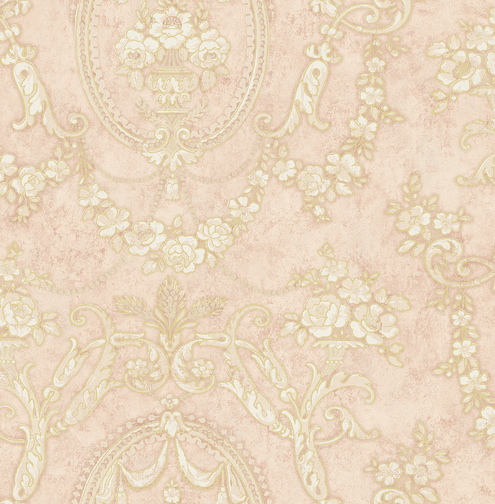 Sample Frills Cameo Wallpaper in Blush from the Vintage Home 2 Collection by Wallquest