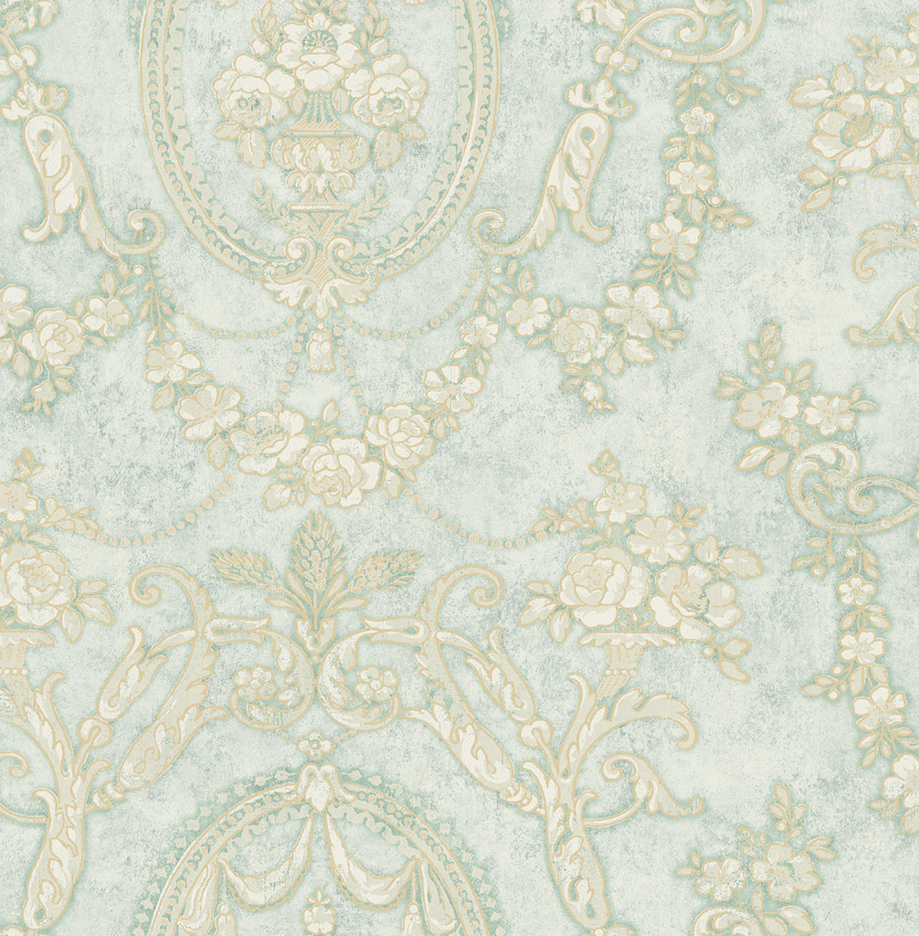 Frills Cameo Wallpaper in Vintage Blue from the Vintage Home 2 Collection by Wallquest