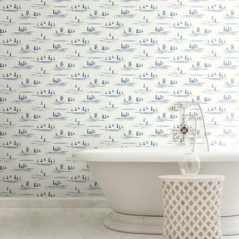 Full Sails Wallpaper in Blues from the Water's Edge Collection by York Wallcoverings