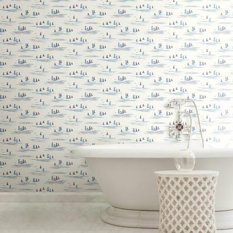 Full Sails Wallpaper in Primary from the Water's Edge Collection by York Wallcoverings