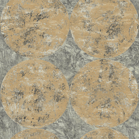 Sample Fulton Wallpaper in Gray and Gold from the Metalworks Collection by Seabrook Wallcoverings