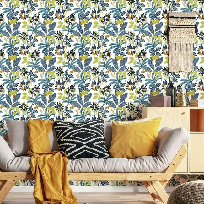 Funky Jungle Peel Stick Wallpaper In Blue And Yellow By Roommates Fo Burke Decor