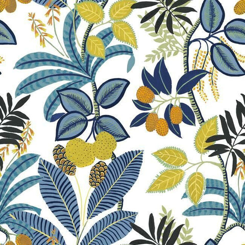 Funky Jungle Peel & Stick Wallpaper in Blue and Yellow by RoomMates for York Wallcoverings