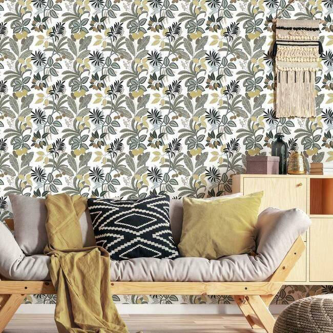 Funky Jungle Peel & Stick Wallpaper in Neutral and Yellow by RoomMates for York Wallcoverings