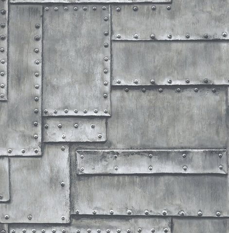 Fuselage Panel Peel-and-Stick Wallpaper in Charcoal by NextWall