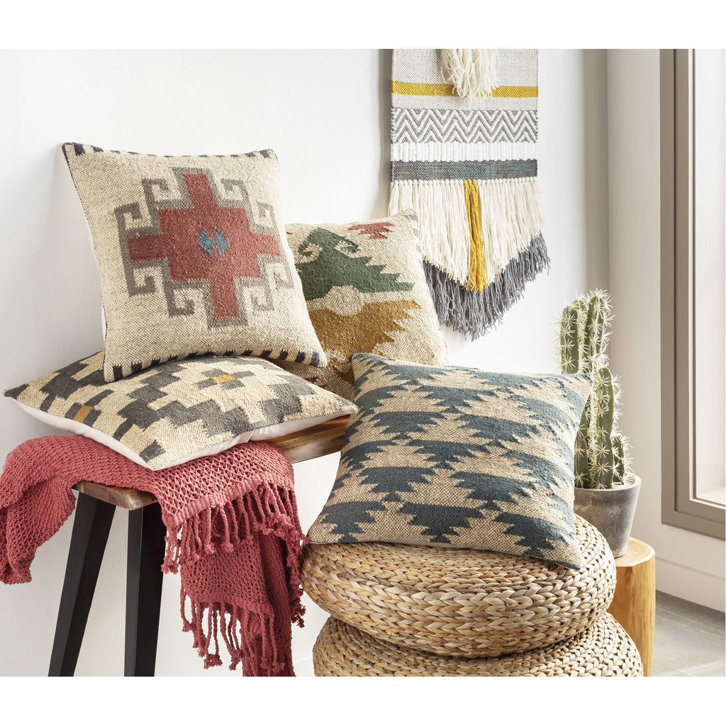 Gada GAD-004 Hand Woven Pillow in Beige & Teal by Surya