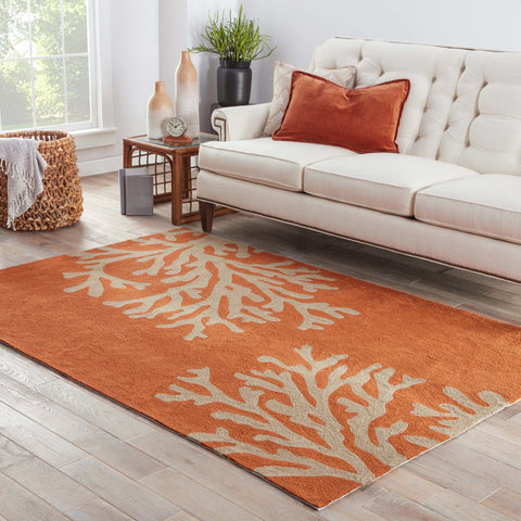 Bough Out Floral Rug in Apricot Orange & Tuffet design by Jaipur